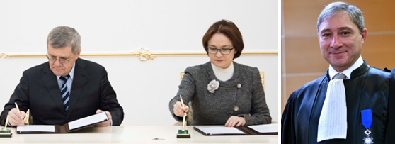 Left Russian General Prosecutor Yury Chaika Signs A Cooperation Agreement With Central Bank Governor Elvira Nabiullina Right Jean Michel Pretre
