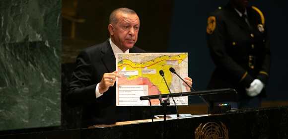 "Source:  https://www.bloomberg.com/Erdogan has repeated his demand for the full 440-km zone of occupation since the invasion started. He said as much to US officials, including President Donald Trump.  ""The 'safe zone' will stretch 440km along Turkey's border from the Euphrates river to the Iraqi border, Mr Erdogan told reporters. Mr Pence said late on Thursday it would run 30km deep, but did not specify the total expanse. Some areas that Turkey wants to hold in the safe zone are now under Syrian, Russia and Kurdish control."""